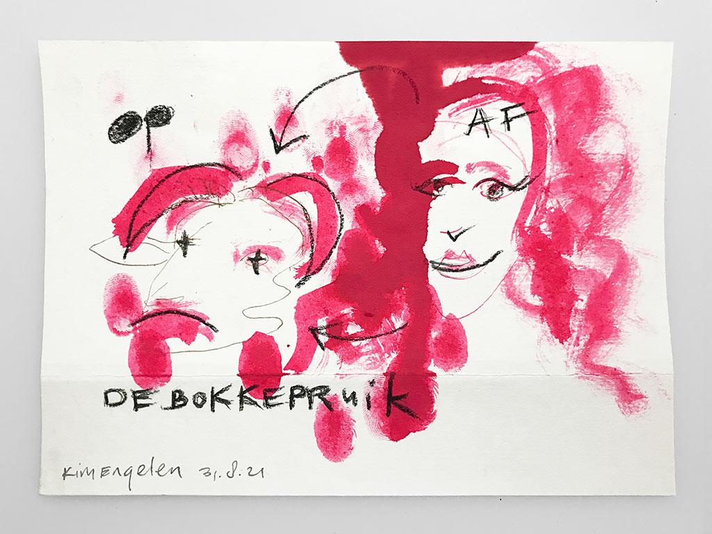 Kim Engelen, De Bokkepruik (The Bucks Wig) No.6, Drawing, Ecoline, Indian-ink, Charcoal, 2021