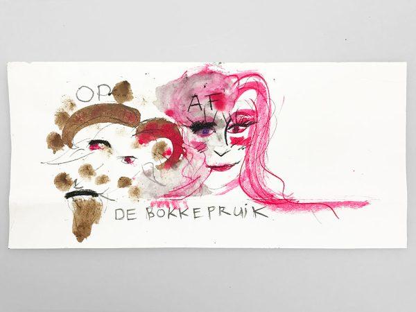 Kim Engelen holding the drawing, De Bokkepruik (The Bucks Wig) No.7, Drawing, Ecoline, Indian-ink, Charcoal, 2021