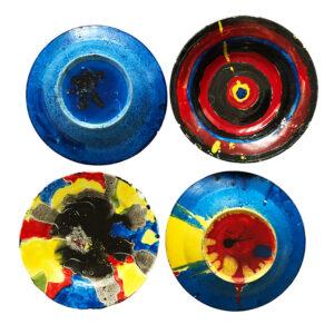 Kim Engelen, Let's Start, Four Painted Plates, Earthenware, 1999
