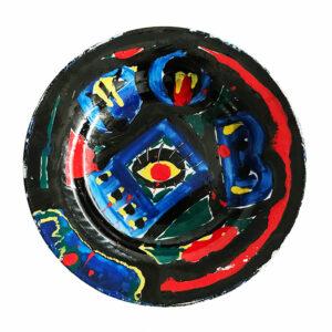 Kim Engelen, Yellow Eye, Black Man, Series Painted Plates, Earthenware, 1999