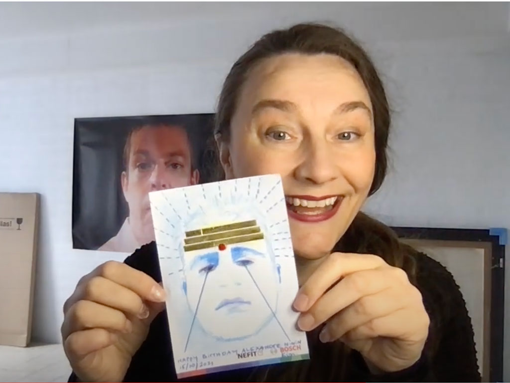 Kim Engelen holding-drawing Happy Birthday Alexandre Ninïn, 15 October 2021