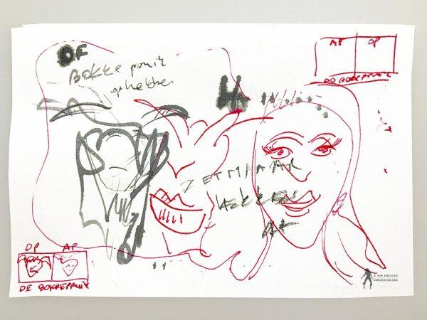 Kim Engelen, De Bokkepruik (The Bucks Wig), Drawing No.1, Ecoline, Indian-ink, Web example, 2021