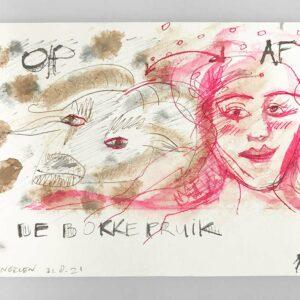Kim Engelen, De Bokkepruik (The Bucks Wig), Drawing No.4, Web Example, 2021
