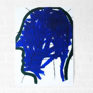 Kim Engelen, Networks, Acrylic on Canvas, 1997, Blue Head, Poster, 2021