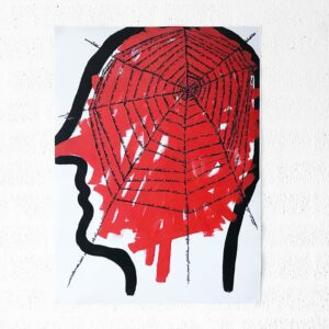 Kim Engelen, Networks, Acrylic on Canvas, 1997, Red Head, Poster, 2021