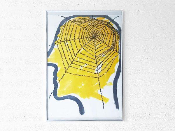 Kim Engelen, Networks, Acrylic on Canvas, 1997, Yellow Head, Framed Poster, 2021