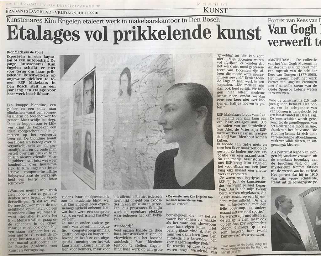 Brabants Dagblad, Mark van de Voort, Etalages vol prikkelende kunst, 9 Juli 1999