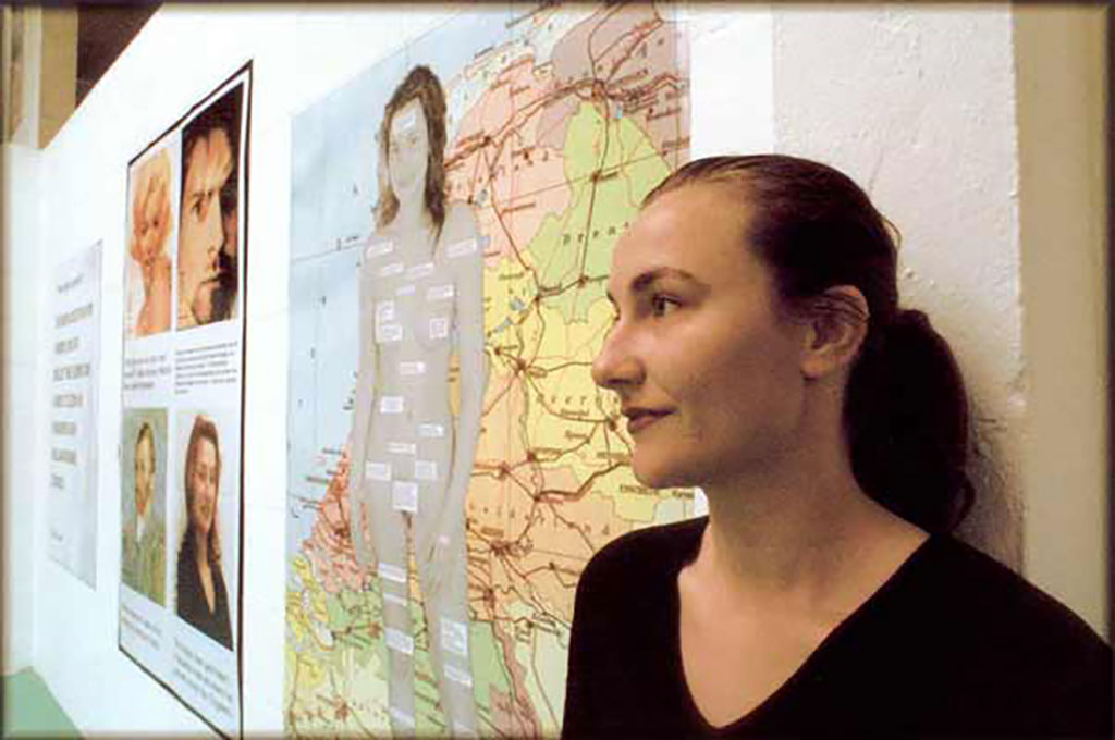 Kim Engelen in front of her artworks, July 1999