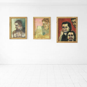 Kim Engelen, Series Students, Linda & Frits, Bernd Claying, Patrico, Oil on Paper (Framed), 1995