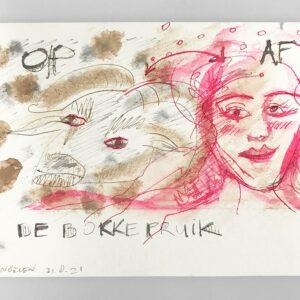 Kim Engelen, De Bokkepruik (The Bucks Wig) No.4, Drawing, Ecoline, Indian-ink, 2021