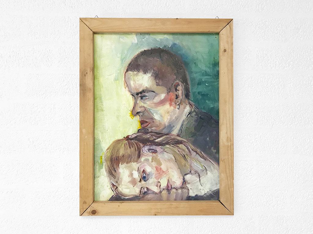 Kim Engelen, Frits & Linda, Oil on Paper (Framed), 1995