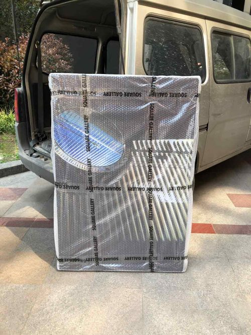 Kim Engelen, Light-box Sun-Penetrations wrapped and ready to travel, 25 March 2021